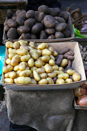 Potatoe vegetables in crates at farmers market Stock Photo - 17048719