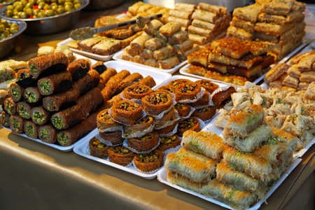 Turkish sweet pastry variety in traditional bakery Stock Photo - 17048713