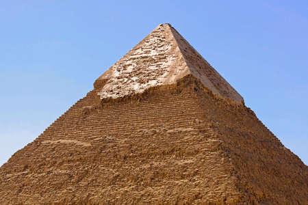 giza: Top of Khafre pyramid at sunny day Stock Photo