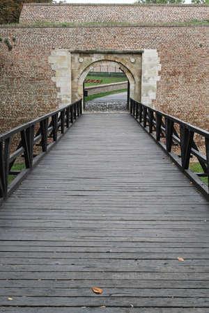 pedestrian bridge: Wooden pedestrian bridge and entrance in fortification
