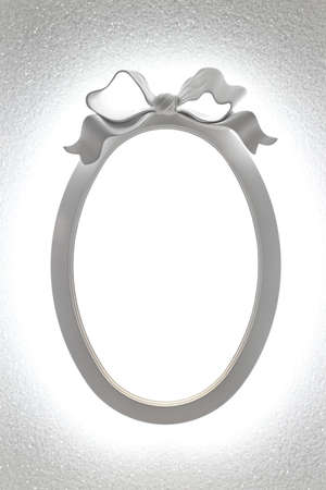 White oval frame with light and bow decor Stock Photo - 17191470