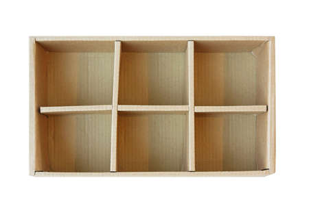 Open cardboard box with six compartments isolated Stock Photo - 17218662