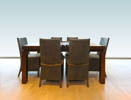 dinning table: Wooden dinning table and chairs for six