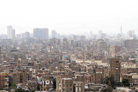 slums: Aerial view of heavy polluted Cairo slums