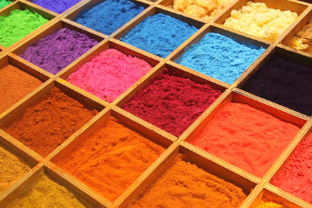Pigment powder for sale at a market stall for artists