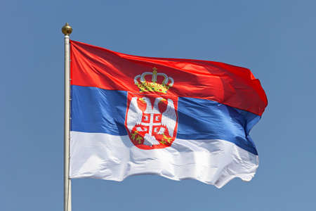 tricolour: Serbian national flag tricolour with eagles and crown