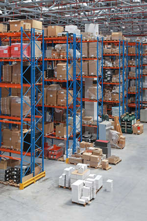 Distribution warehouse with high rack shelving system photo