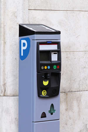 automat: Self service parking pay station with solar power Stock Photo