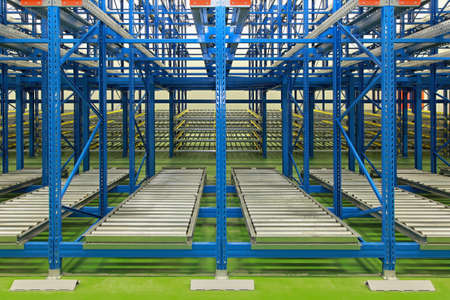 Dynamic storage with conveyer rollers in new warehouse photo