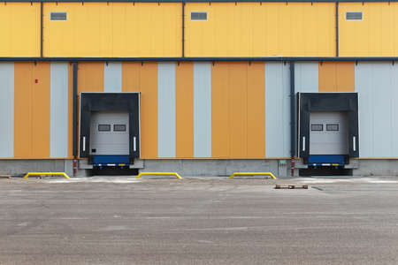 Two ramps for loading trucks at warehouse photo