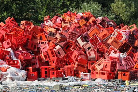 recycle plastic: Big bunch of red crates for recycling