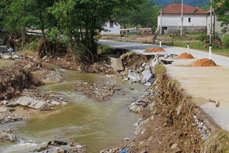 landslip: River flow calmed down after powerful flooding distruction