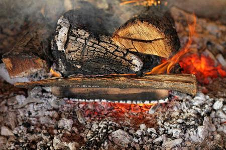 log fire: Close up colpo di fuoco a legna in camino