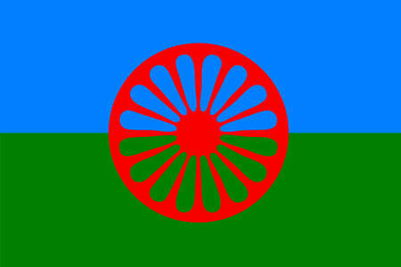 spoked: Official flag of the Romani People Gypsies