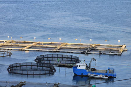 Fisherman boat and fishing nets in harbor Stock Photo - 18295280
