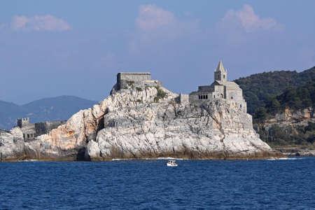 Saint Peter church at Ligurian coast rock Stock Photo - 18295326