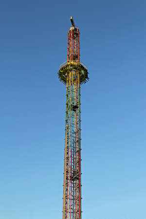Drop tower free fall ride in amusement park Stock Photo - 18306271