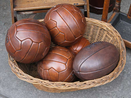 Vintage style real leather balls for volleyball and rugby Stock Photo - 18307209