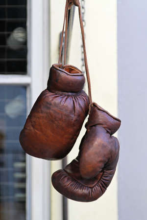 Vintage style real brown leather boxing gloves Stock Photo - 18307174
