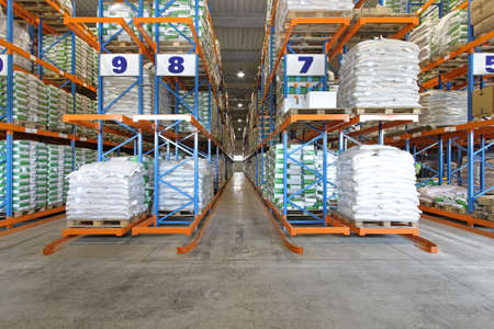 Distribution warehouse shelving system with sacks and bags photo