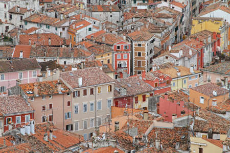 Aerial photo of old Rovinj city rooftops Stock Photo - 18397947