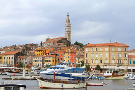Rovinj city with port and tower landmark Stock Photo - 18397886