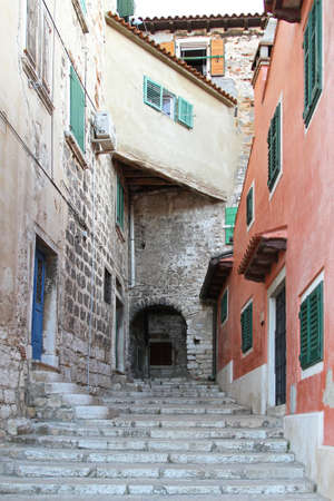 Stairway street in old city of Rovinj Stock Photo - 18397928