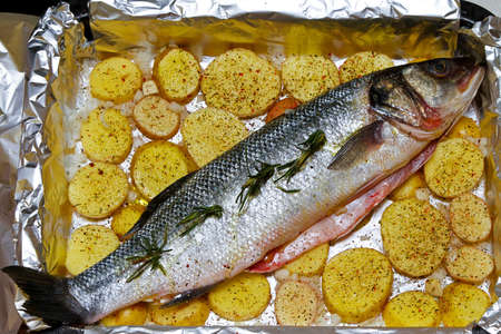 Prepared bass fish and potato in oven Stock Photo - 18425482