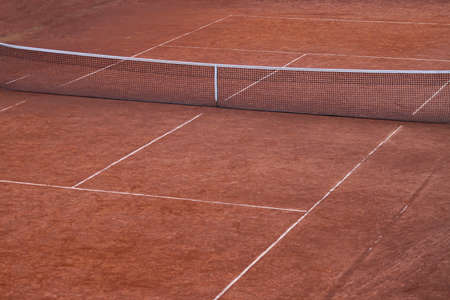 Empty tennis court made from orange clay Stock Photo - 18425480