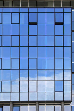 office building exterior: Modern office building exterior with blue glass Stock Photo