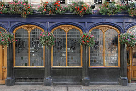 Three leadlight windows at traditional London pub photo