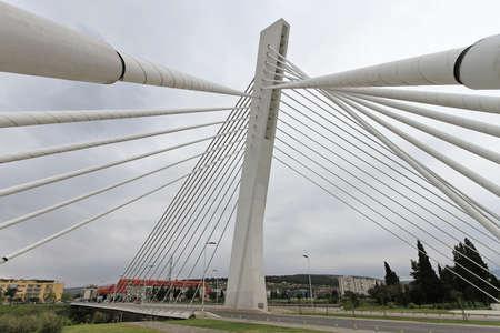 White suspension Millennium Bridge in Podgorica Montenegro Stock Photo - 18638087