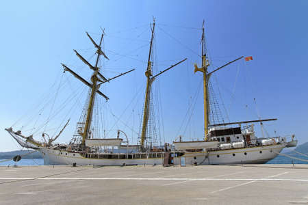 topsail: Tall ship Jadran at dock in Tivat Montenegro