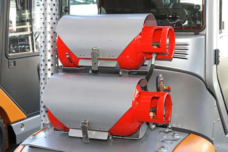 dual: Dual gas bottles at hybrid power forklift Stock Photo