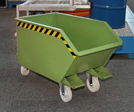 Industrial green steel bin with wheels Stock Photo - 18715481