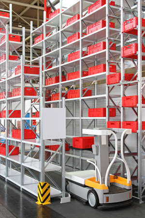 Work assistance vehicle in high shelving warehouse Stock Photo - 18715852