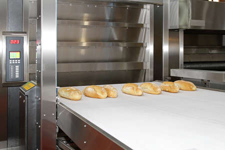 Commercial bread baking oven with conveyer belt Stock Photo - 18791892