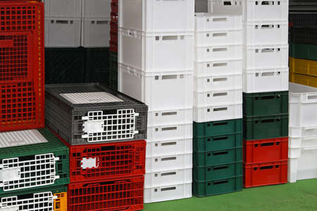 Plastic crates and cages for poultry at farm Stock Photo - 18791894