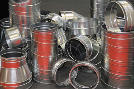 Various aluminium metal pipes for ventilation system Stock Photo - 18868113