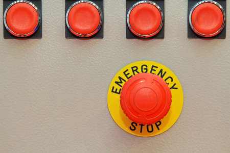Big red button for emergency stop machinery Stock Photo - 18874035