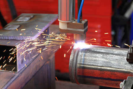 Close up shot of pipe gas welding Stock Photo - 18874059