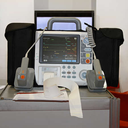 External manual defibrillator and monitor unit equipment photo