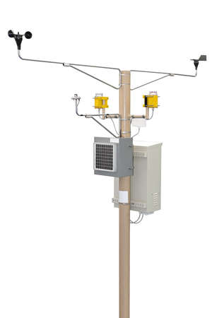 condition: Weather station at pole for wind and solar energy measurement Stock Photo