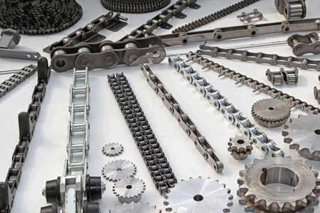 Roller chains with sporckets for motorcycles and cars