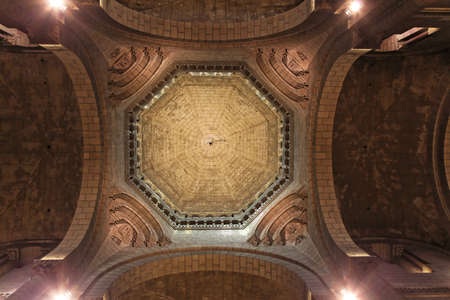 'saint nicholas': Stone ceiling dome at Saint Nicholas Cathedral in Monaco Stock Photo