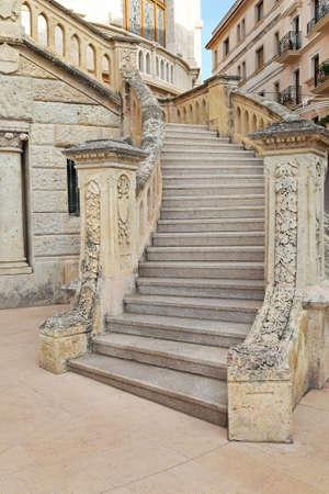 stone steps: Medieval marble stone external stairway in Monaco