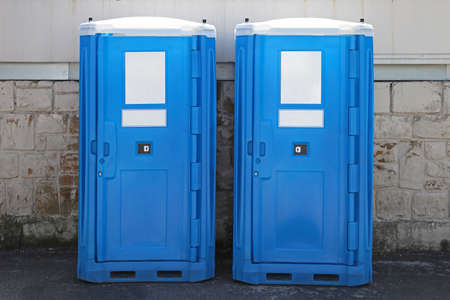 Two portable toilet cabins at construction site Stock Photo - 19187795
