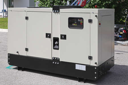 electrical power: Mobile diesel generator for emergency electric power Stock Photo
