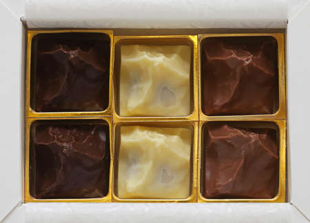 Dark milk and white chocolates in gift box Stock Photo - 19263896