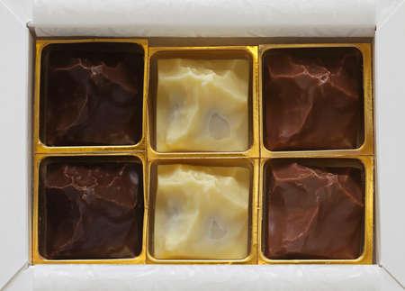 Dark milk and white chocolates in gift box Stock Photo - 19263896